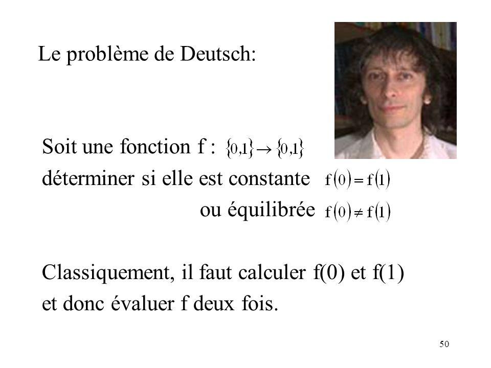 Le problème de Deutsch: