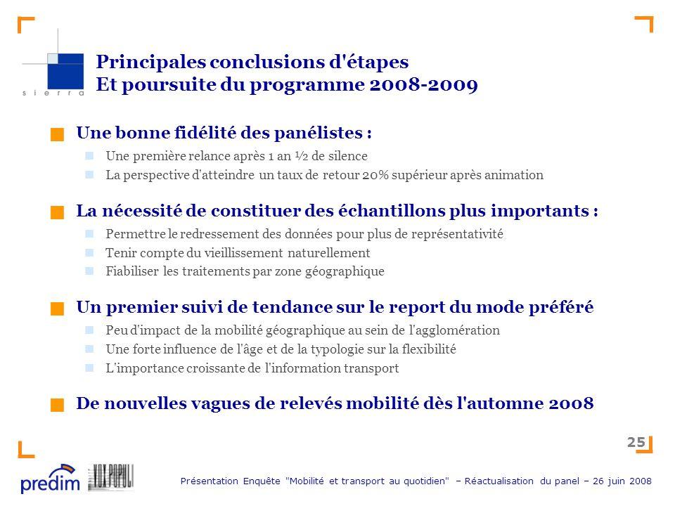 Principales conclusions d étapes Et poursuite du programme 2008-2009