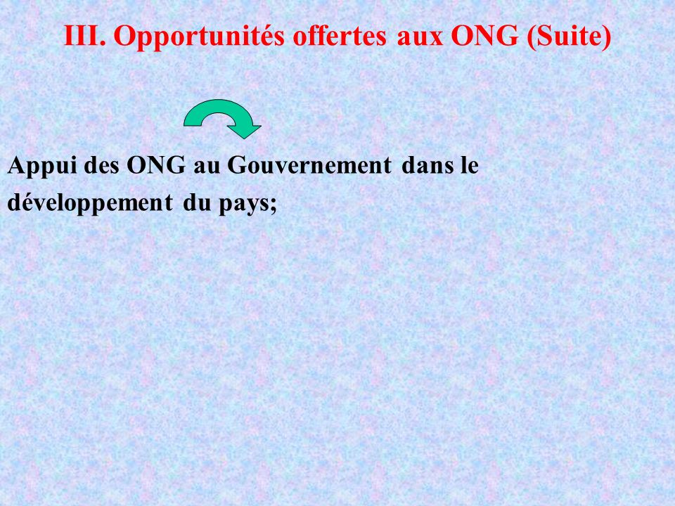 III. Opportunités offertes aux ONG (Suite)