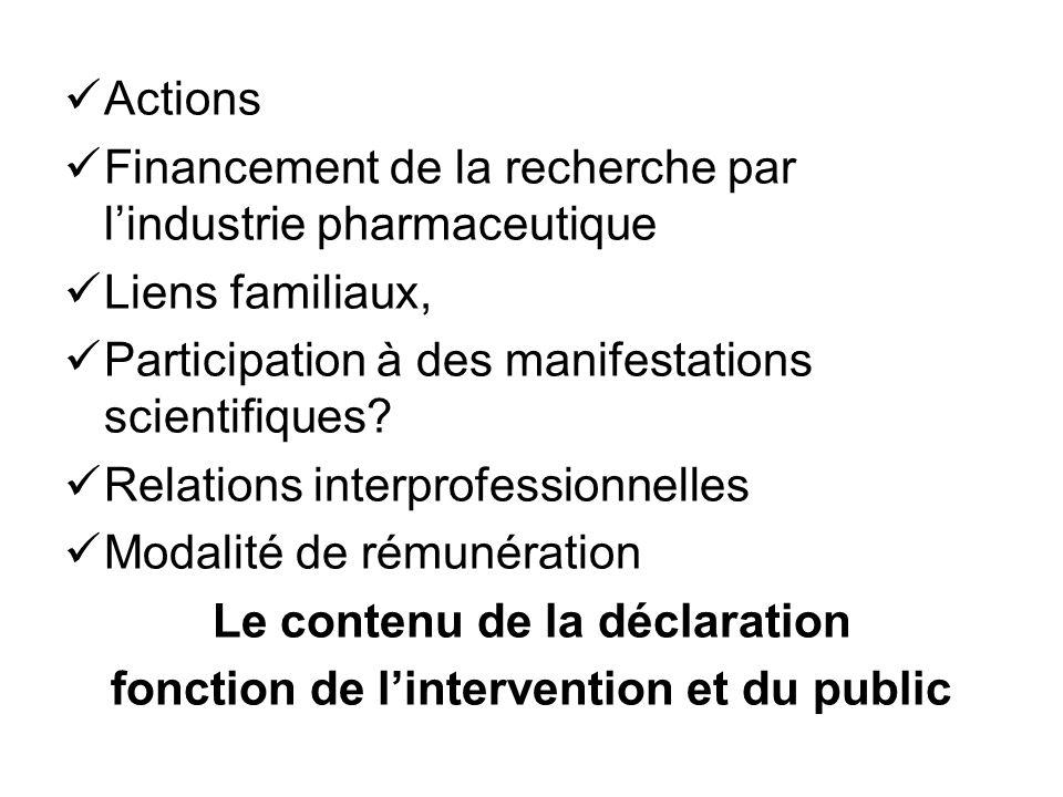 Le contenu de la déclaration fonction de l'intervention et du public
