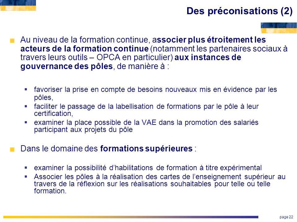 Des préconisations (2)