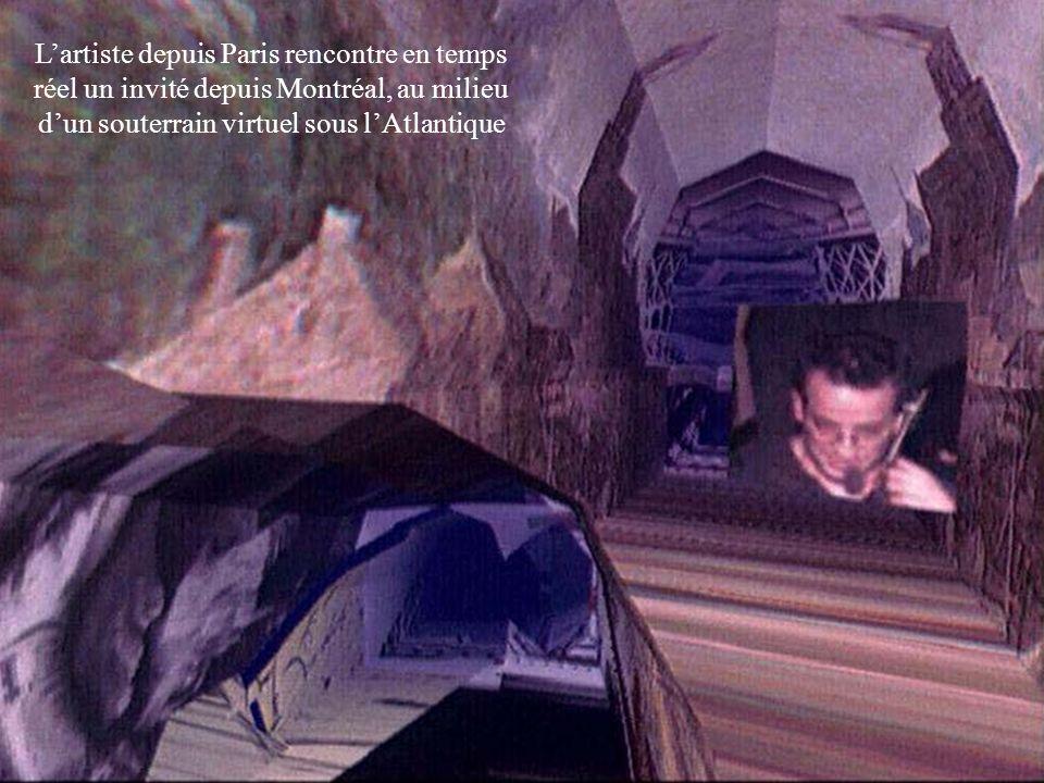 L'artiste depuis Paris rencontre en temps réel un invité depuis Montréal, au milieu d'un souterrain virtuel sous l'Atlantique