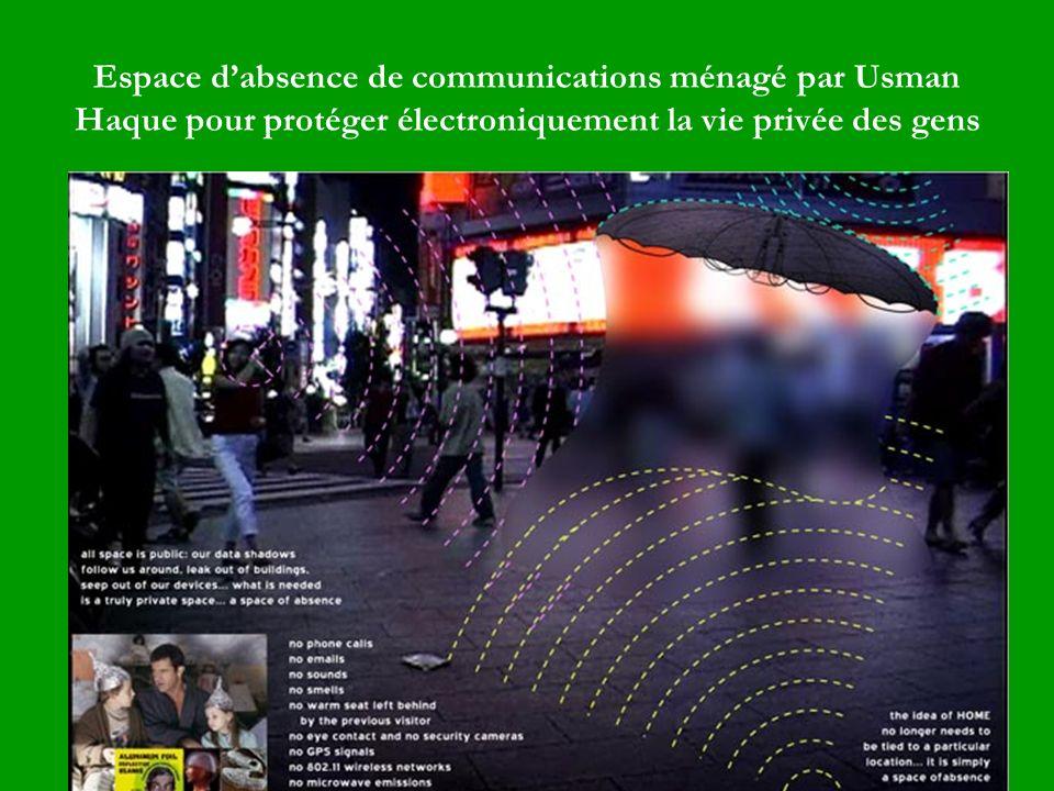 Espace d'absence de communications ménagé par Usman Haque pour protéger électroniquement la vie privée des gens