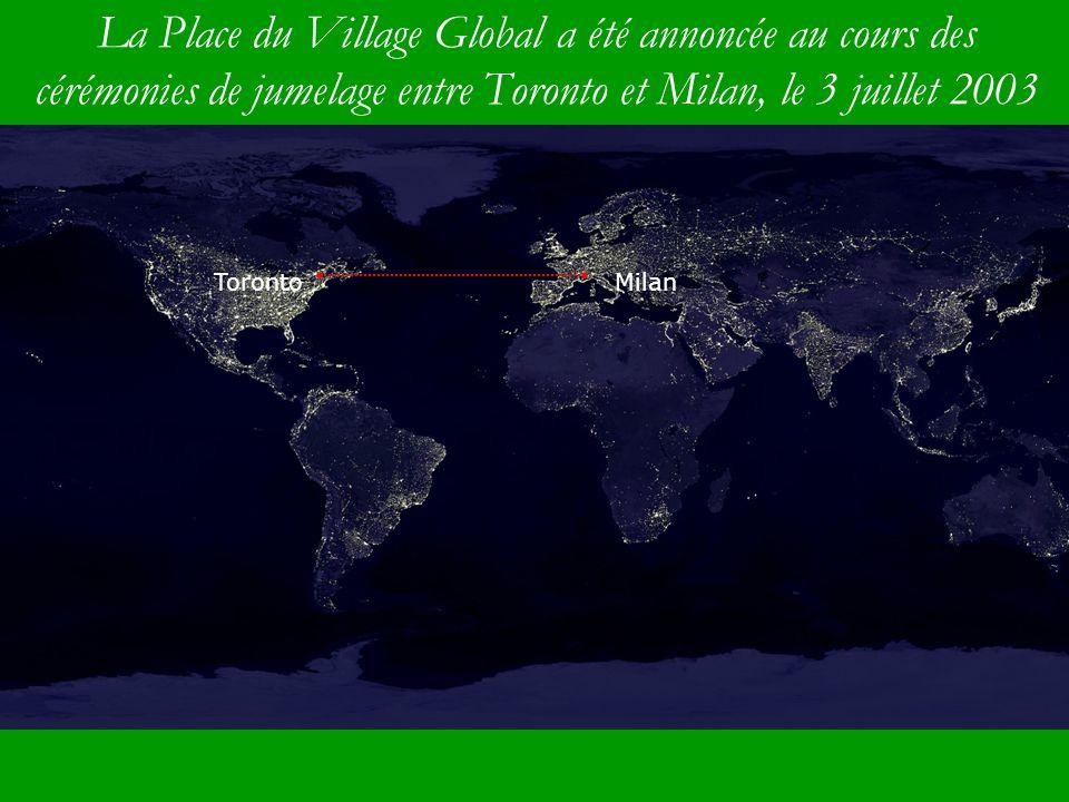La Place du Village Global a été annoncée au cours des cérémonies de jumelage entre Toronto et Milan, le 3 juillet 2003