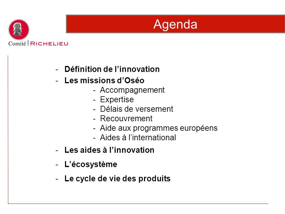 Agenda Définition de l'innovation Les missions d'Oséo Accompagnement