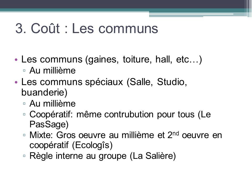 3. Coût : Les communs Les communs (gaines, toiture, hall, etc…)