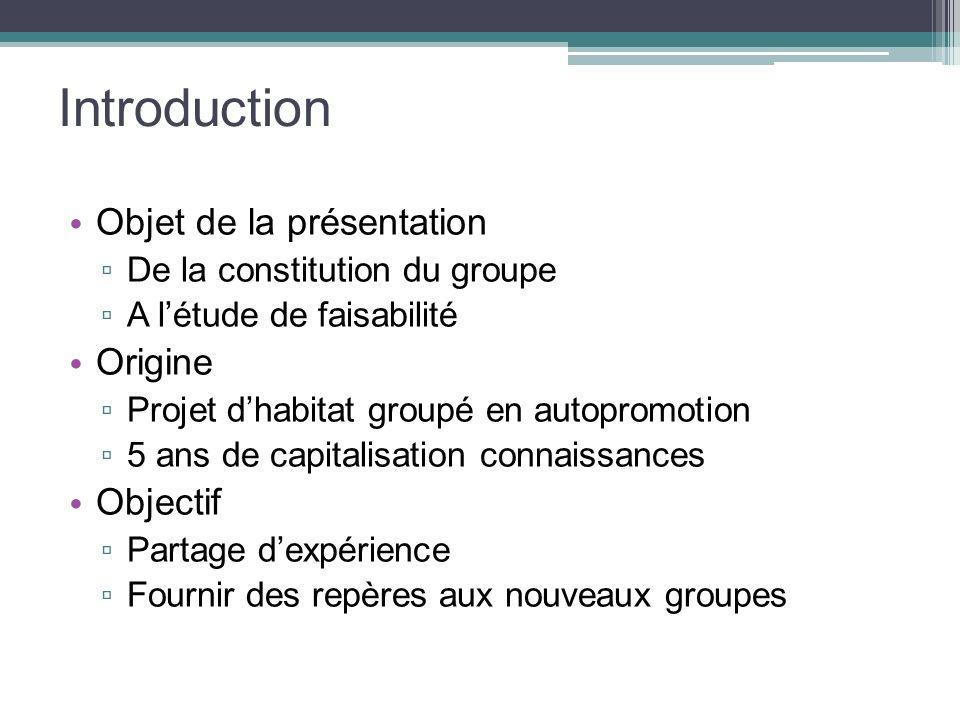 Introduction Objet de la présentation Origine Objectif