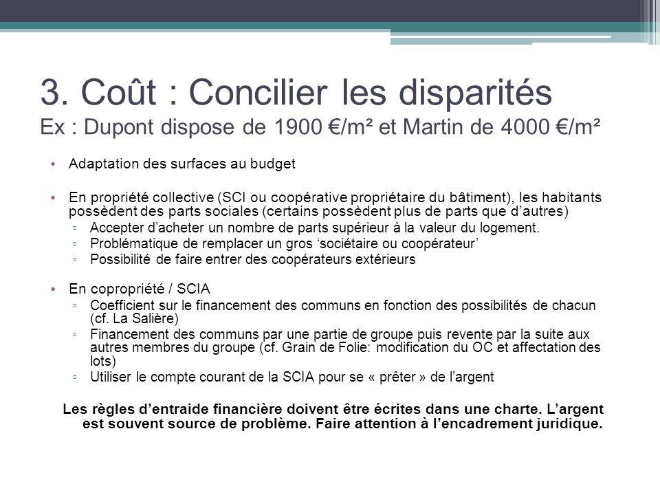 3. Coût : Concilier les disparités Ex : Dupont dispose de 1900 €/m² et Martin de 4000 €/m²