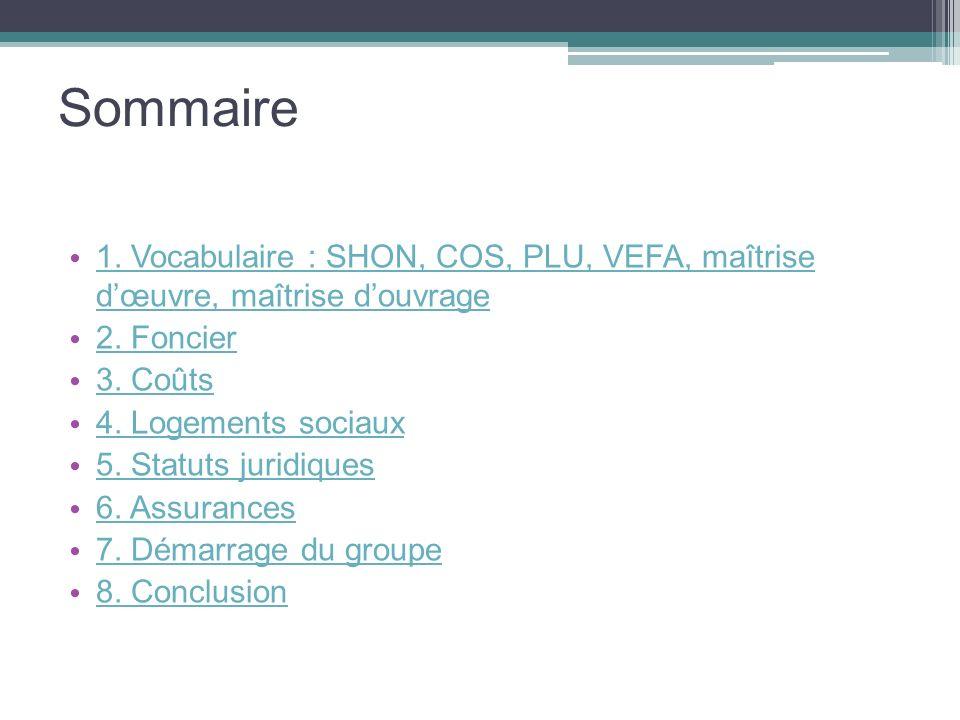 Sommaire1. Vocabulaire : SHON, COS, PLU, VEFA, maîtrise d'œuvre, maîtrise d'ouvrage. 2. Foncier. 3. Coûts.