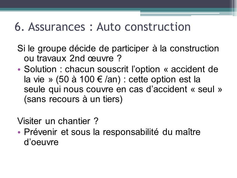 6. Assurances : Auto construction