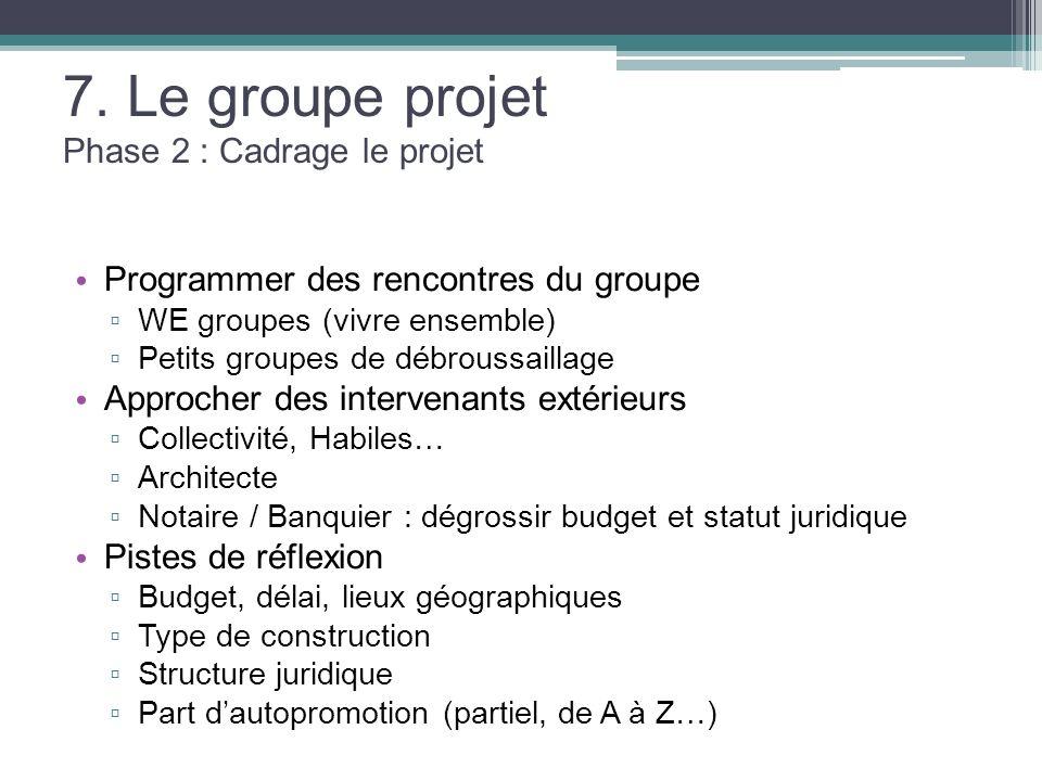 7. Le groupe projet Phase 2 : Cadrage le projet