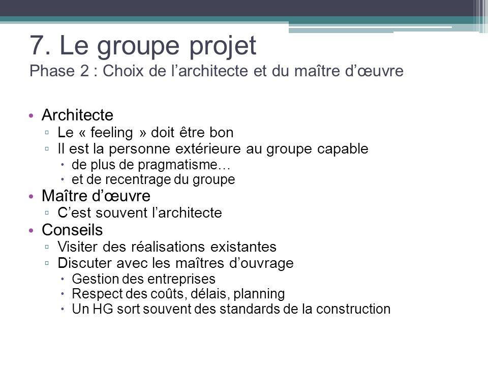 7. Le groupe projet Phase 2 : Choix de l'architecte et du maître d'œuvre