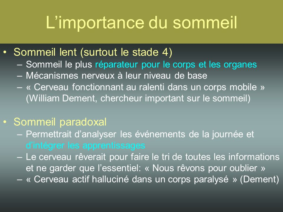 Le syst me nerveux central ppt video online t l charger - Trouble du sommeil que faire ...