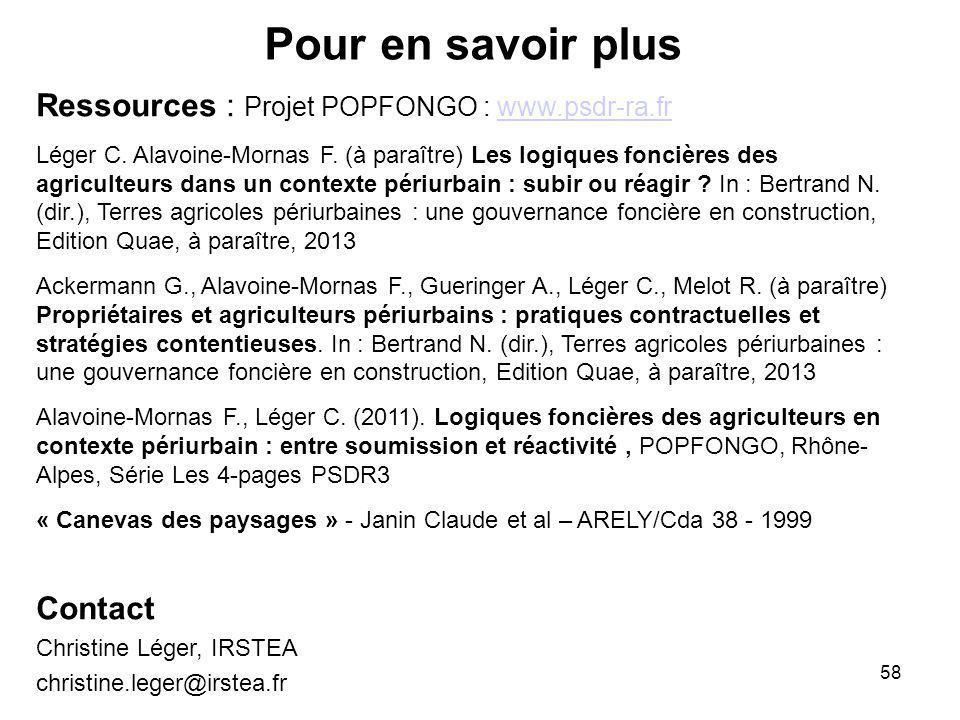 Pour en savoir plus Ressources : Projet POPFONGO : www.psdr-ra.fr