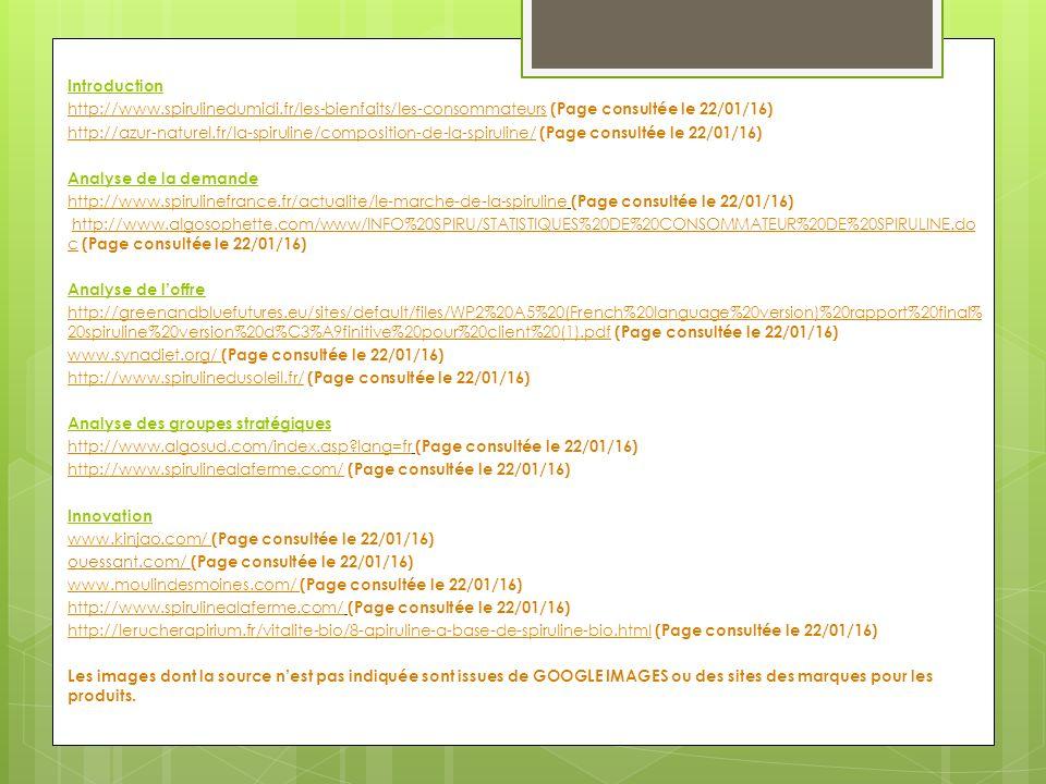 Introduction http://www.spirulinedumidi.fr/les-bienfaits/les-consommateurs (Page consultée le 22/01/16)