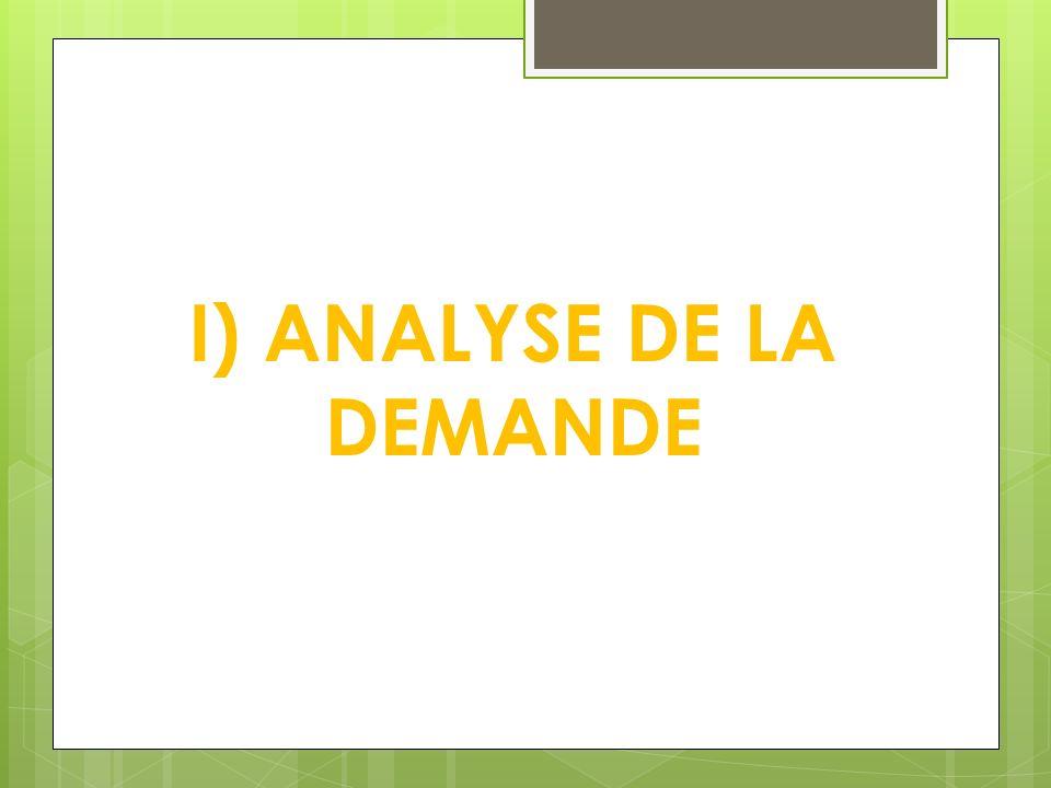I) ANALYSE DE LA DEMANDE