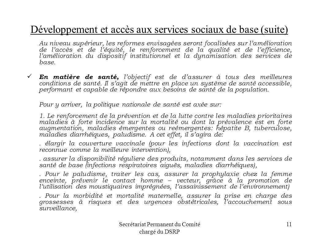 Développement et accès aux services sociaux de base (suite)