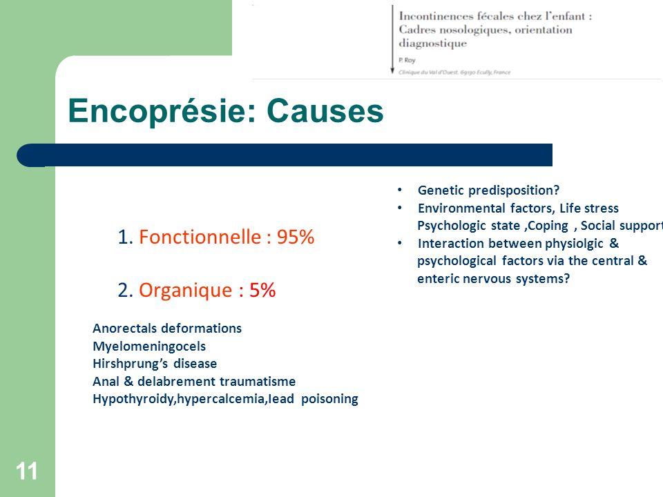 Encoprésie: Causes 1. Fonctionnelle : 95% 2. Organique : 5%