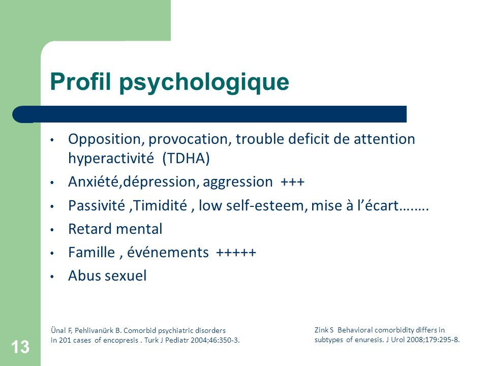 Profil psychologique Opposition, provocation, trouble deficit de attention hyperactivité (TDHA) Anxiété,dépression, aggression +++