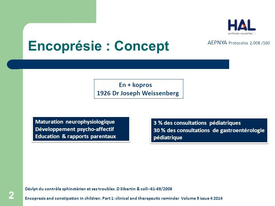 Encoprésie : Concept En + kopros 1926 Dr Joseph Weissenberg