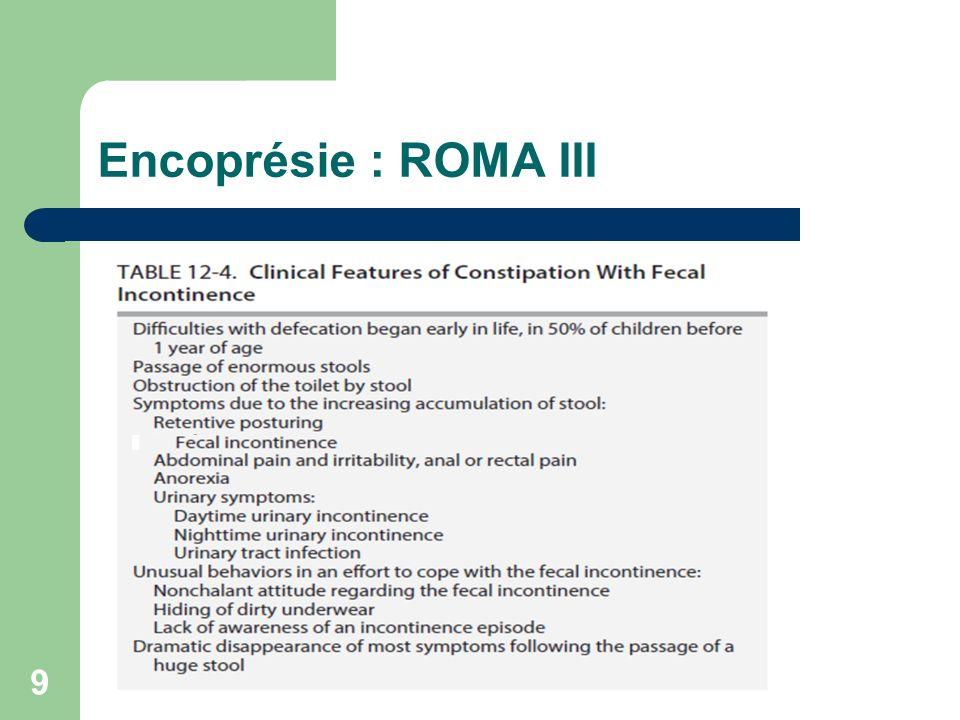 Encoprésie : ROMA III