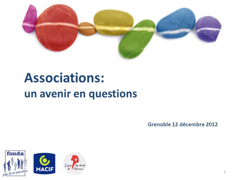 Associations: un avenir en questions Grenoble 12 décembre 2012 1