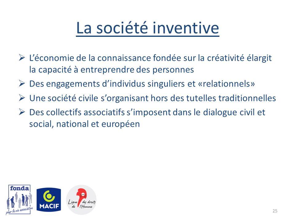 La société inventive L'économie de la connaissance fondée sur la créativité élargit la capacité à entreprendre des personnes.