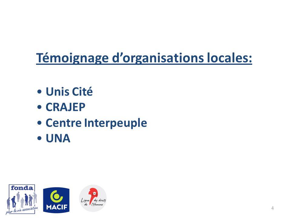 Témoignage d'organisations locales: