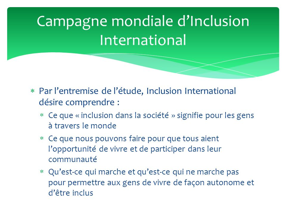 Campagne mondiale d'Inclusion International