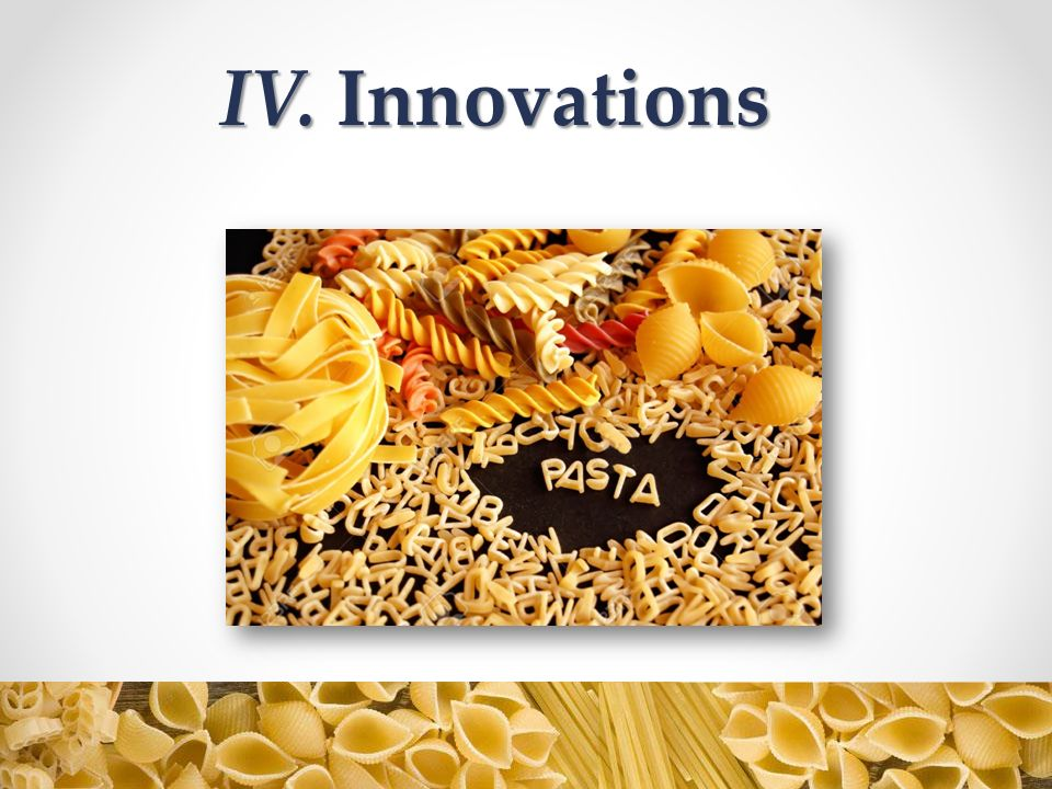 IV. Innovations