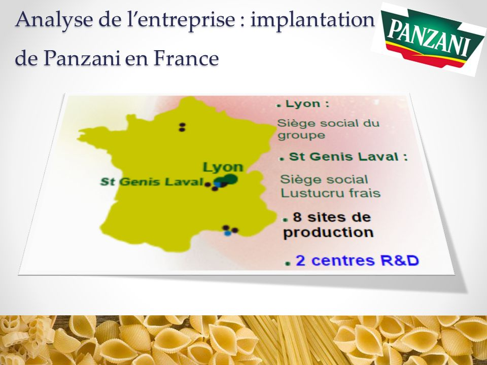 Analyse de l'entreprise : implantation de Panzani en France