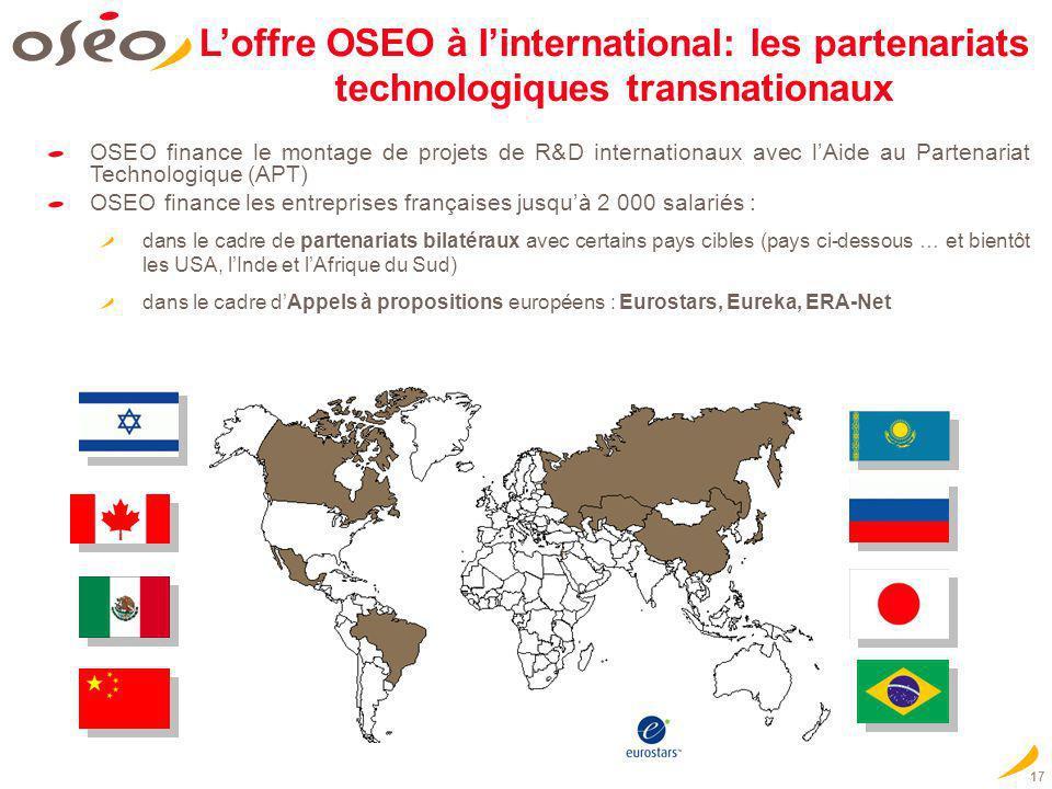 L'offre OSEO à l'international: les partenariats technologiques transnationaux
