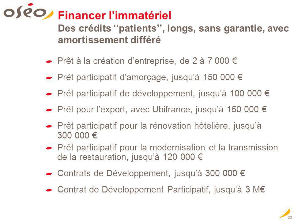 Financer l'immatériel Des crédits ''patients'', longs, sans garantie, avec amortissement différé