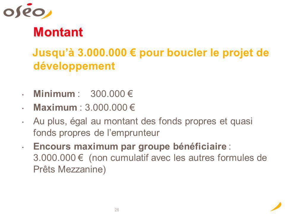 Montant Jusqu'à 3.000.000 € pour boucler le projet de développement