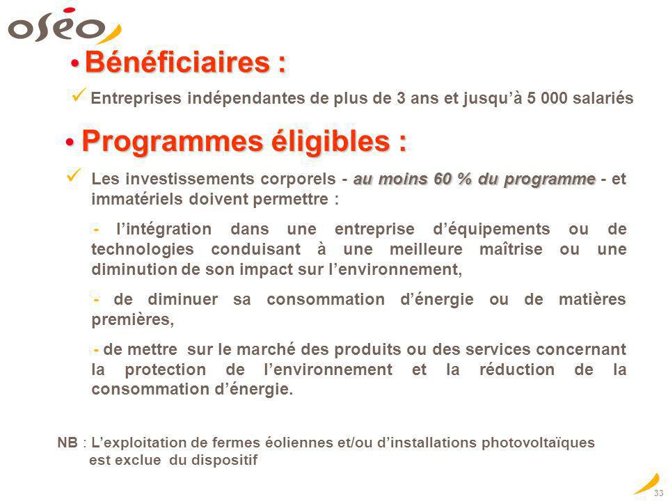 • Programmes éligibles :