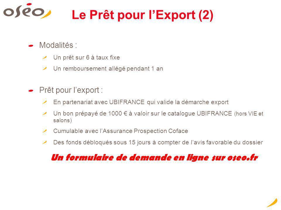 Le Prêt pour l'Export (2)