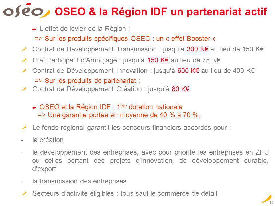 OSEO & la Région IDF un partenariat actif