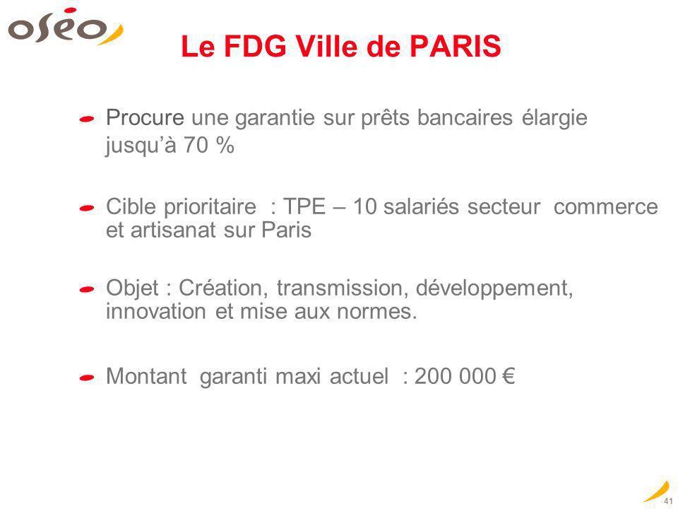 Le FDG Ville de PARIS Procure une garantie sur prêts bancaires élargie jusqu'à 70 %