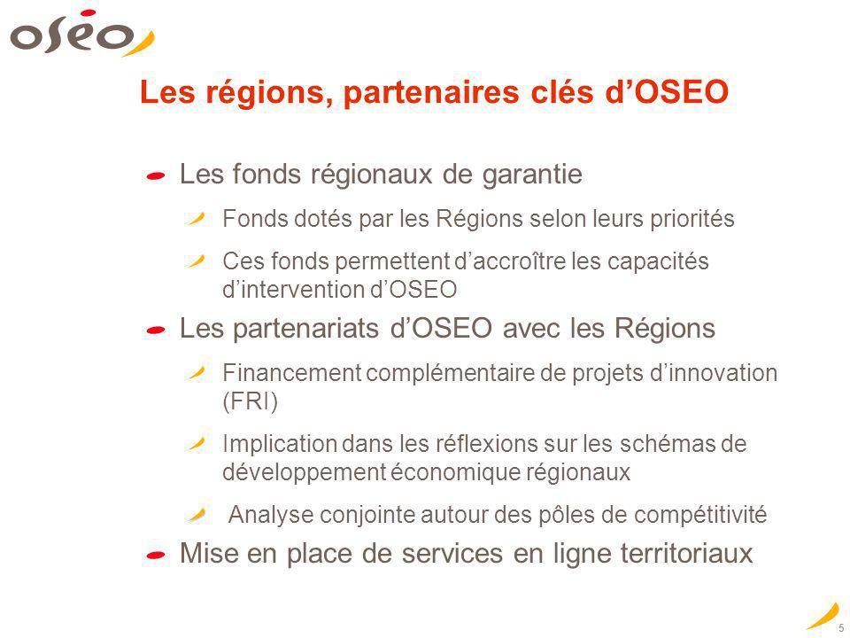Les régions, partenaires clés d'OSEO