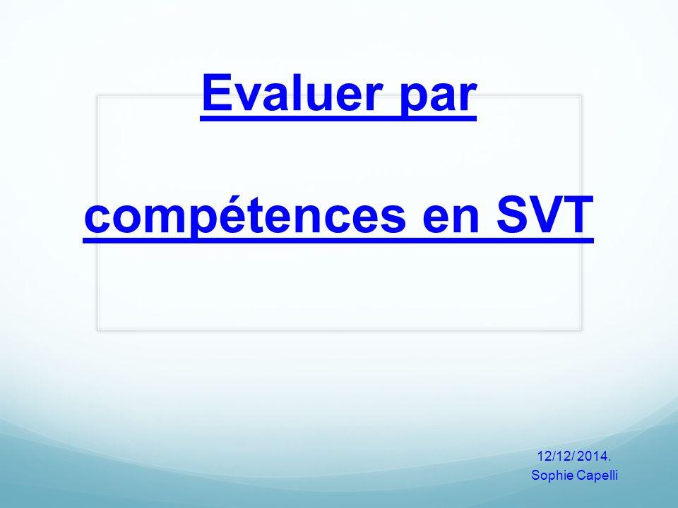 Evaluer par compétences en SVT