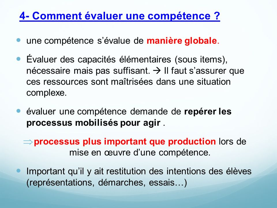 4- Comment évaluer une compétence