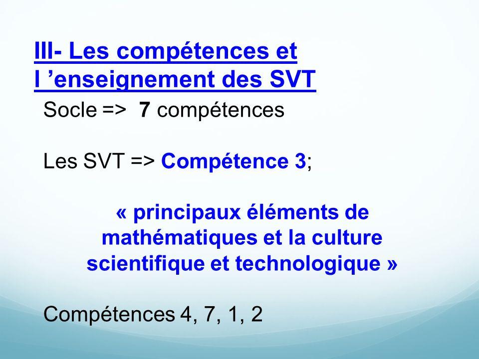 III- Les compétences et l 'enseignement des SVT