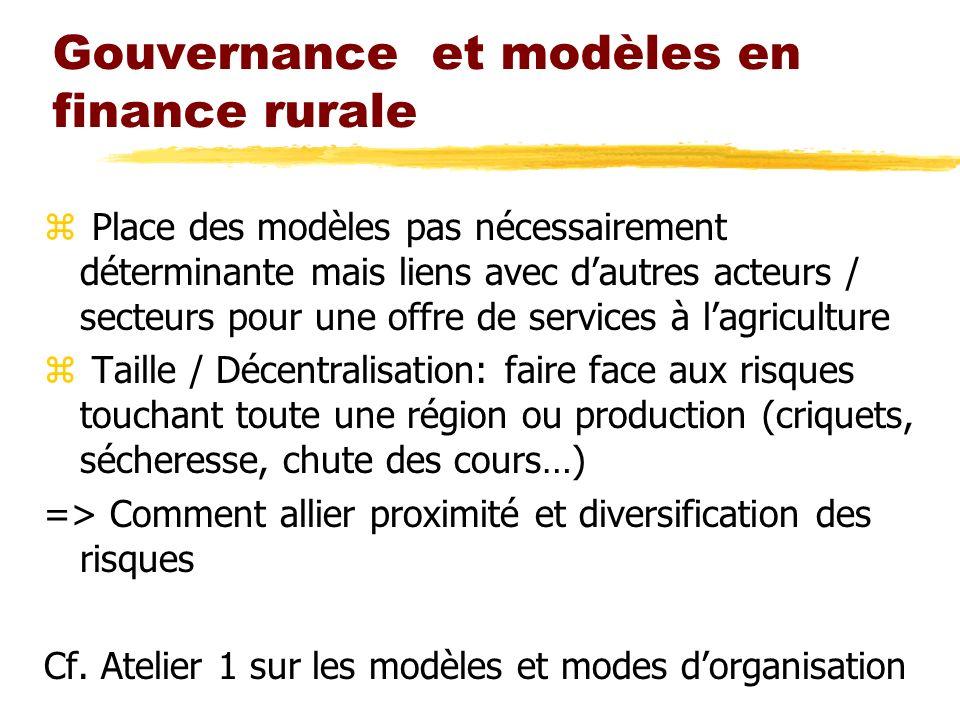 Gouvernance et modèles en finance rurale