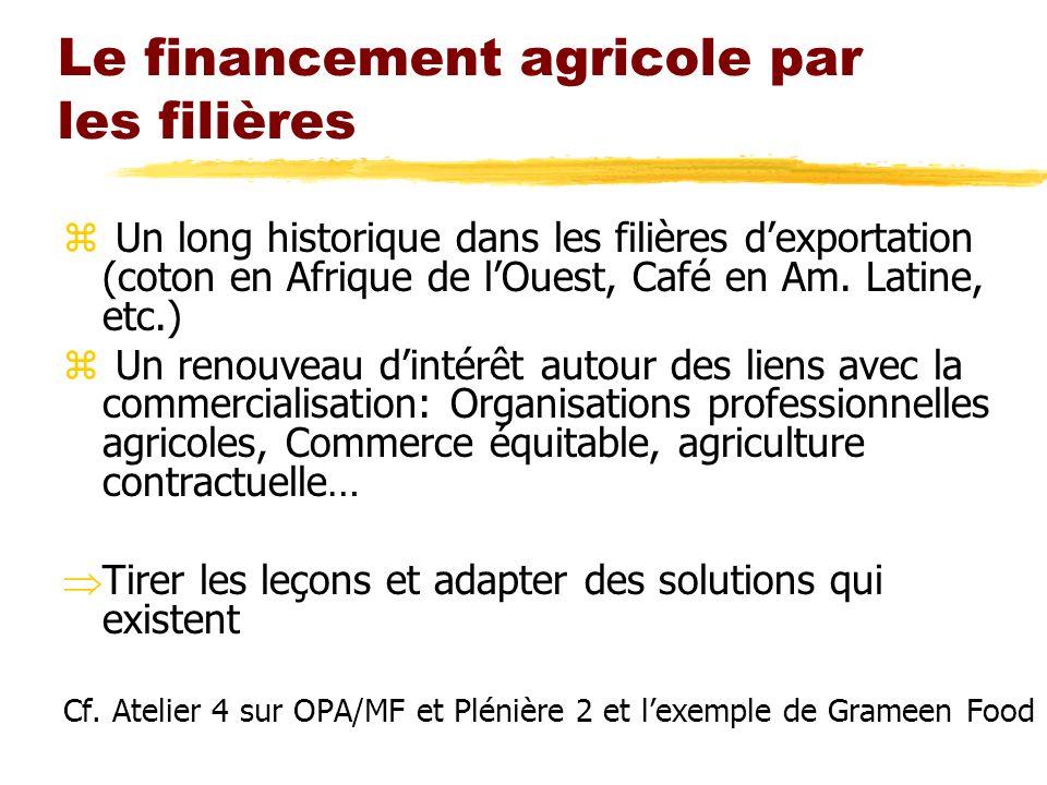 Le financement agricole par les filières
