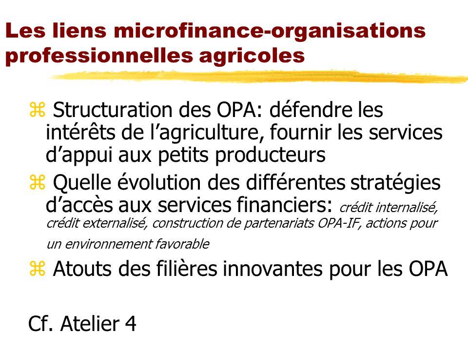 Les liens microfinance-organisations professionnelles agricoles