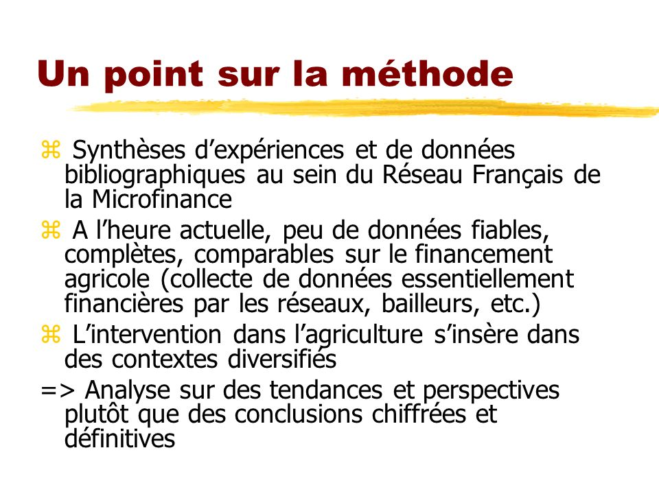 Un point sur la méthode Synthèses d'expériences et de données bibliographiques au sein du Réseau Français de la Microfinance.
