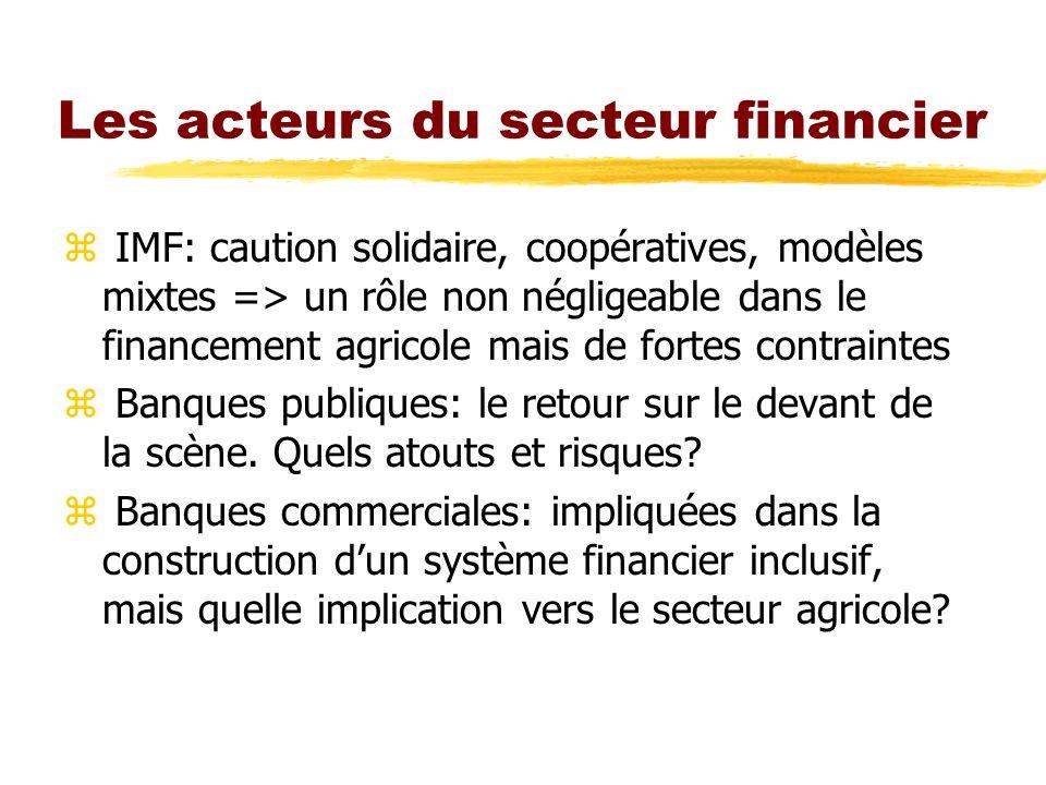 Les acteurs du secteur financier