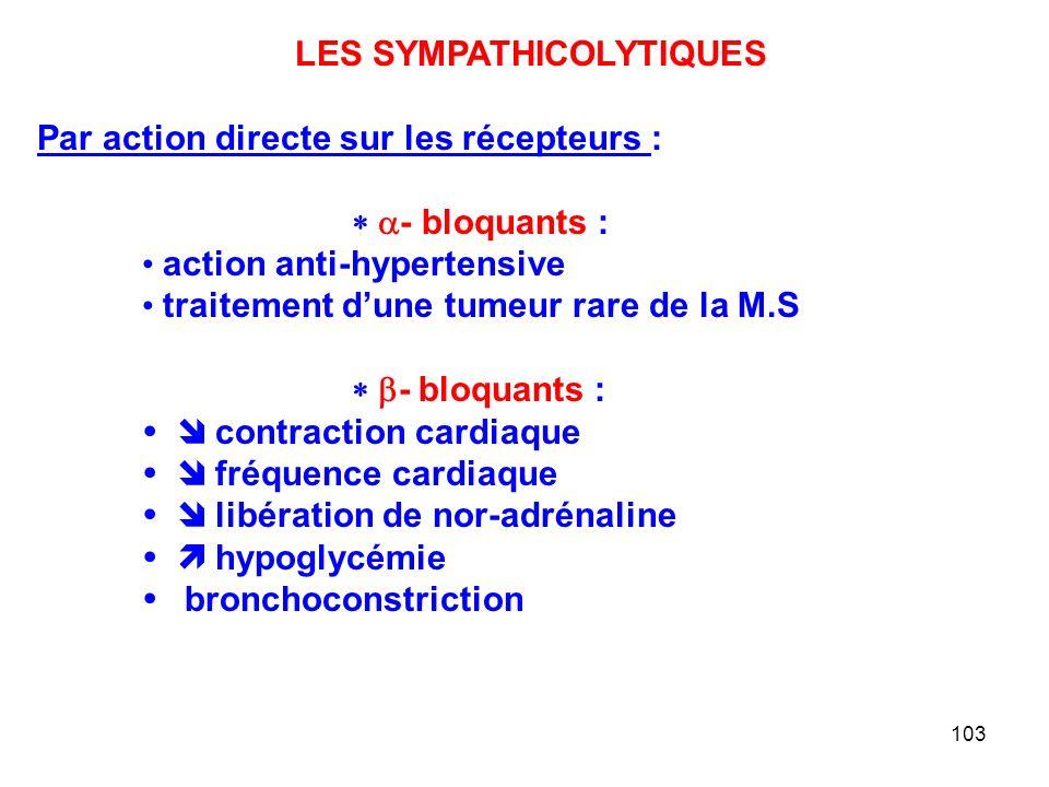 LES SYMPATHICOLYTIQUES