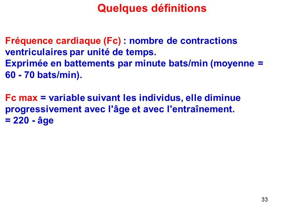 Quelques définitions Fréquence cardiaque (Fc) : nombre de contractions ventriculaires par unité de temps.