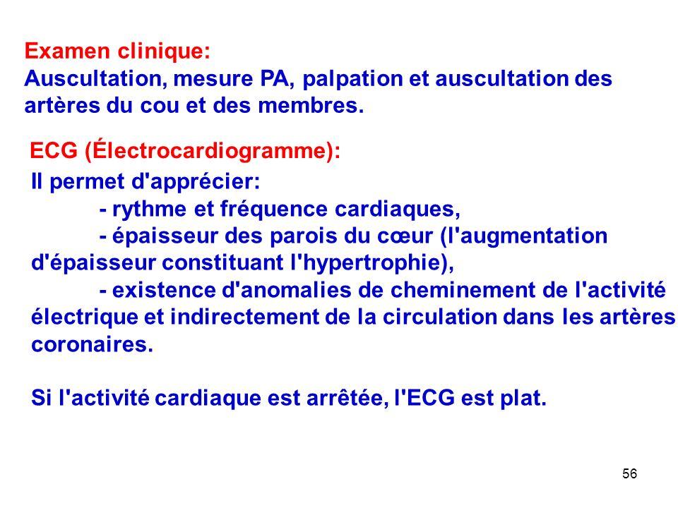 Examen clinique: Auscultation, mesure PA, palpation et auscultation des artères du cou et des membres.